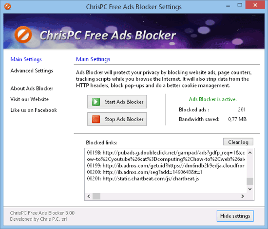 ChrisPC Free Ads Blocker - Enhance your Internet browsing experience